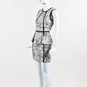 Parker Black and White Peplum Dress